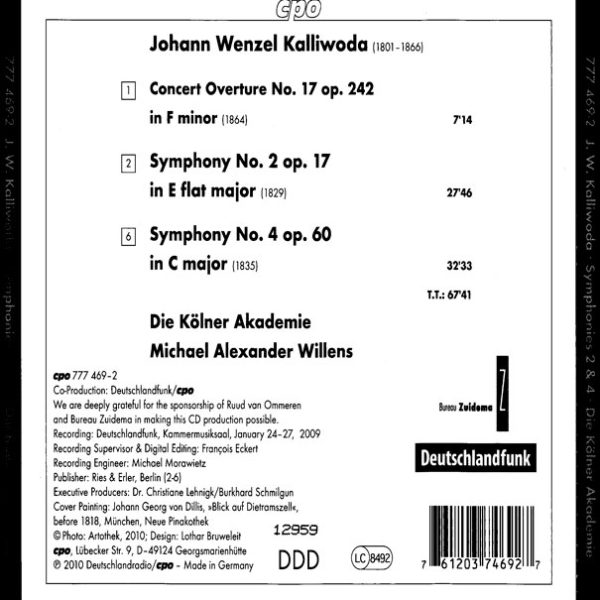 Johann Wenzel Kalliwoda: Symphonies 2 & 4 Inlay