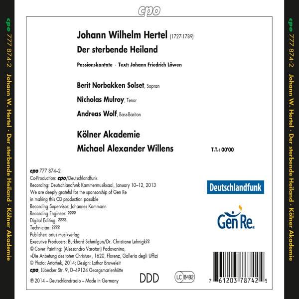 """Johann Wilhelm Hertel: Passionsoratorium """"Der sterbende Heiland"""""""